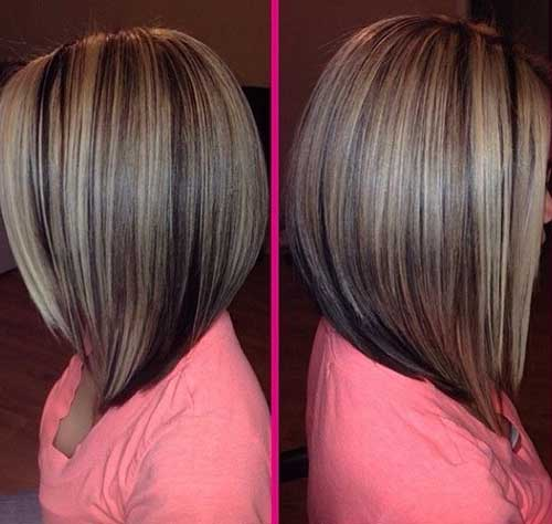 Long Angled Highlighted Bob Haircuts