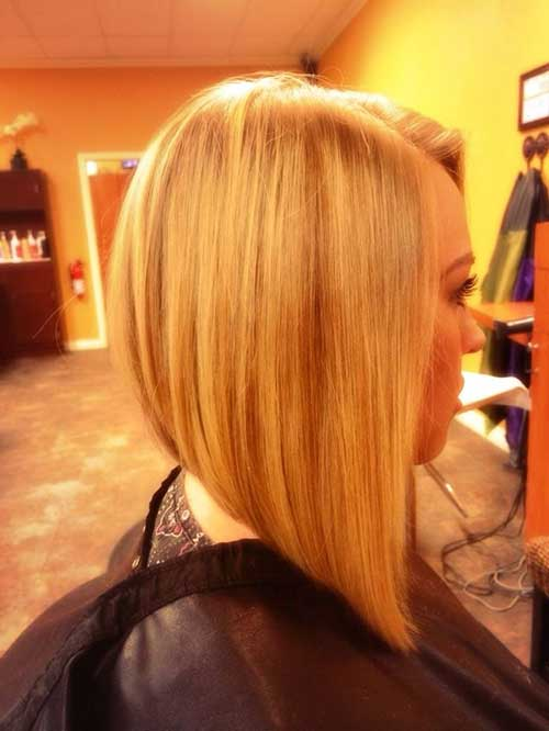 Long Angled Straight Blonde Bob Haircuts