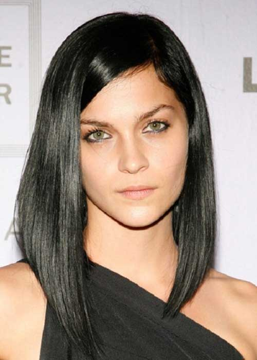 Long Angled Straight Dark Bob Hair Ideas