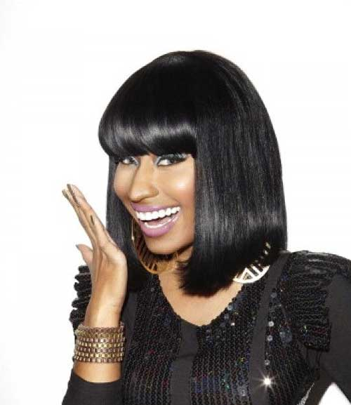Nicki Minaj Dark Bob with Bangs Ideas
