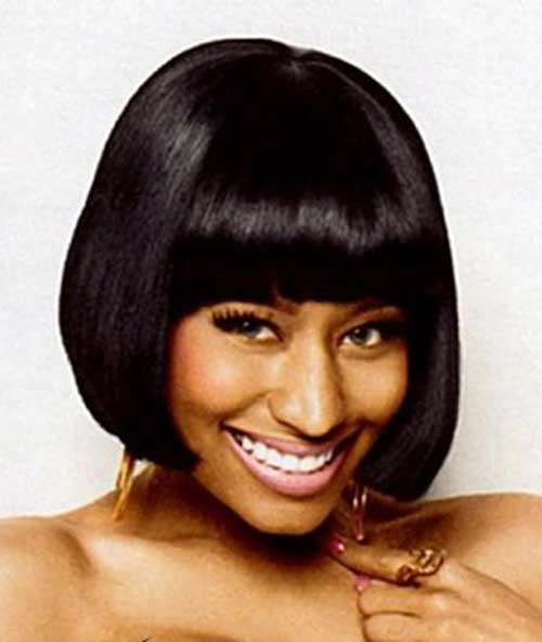 Nicki Minaj Dark Hair Bob Cut