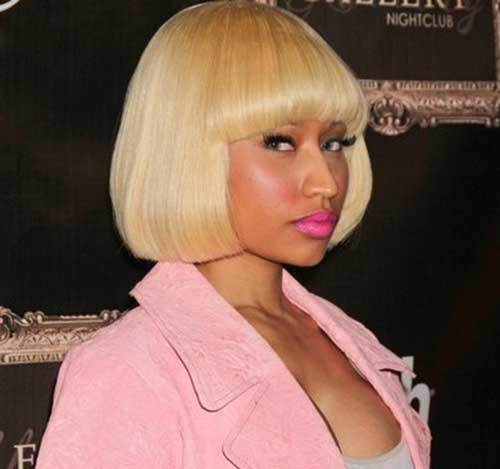 Nicki Minaj Short Bob with Bangs Side View
