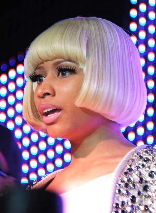 Nicki Minaj Short Blonde Bob with Bangs
