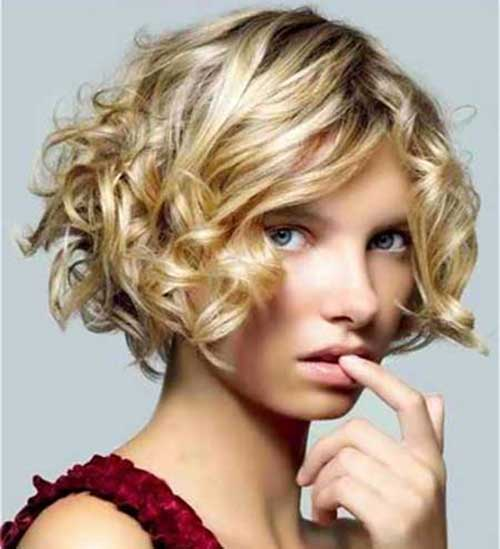Shinny Blonde Curly Bob Hairstyles 2015