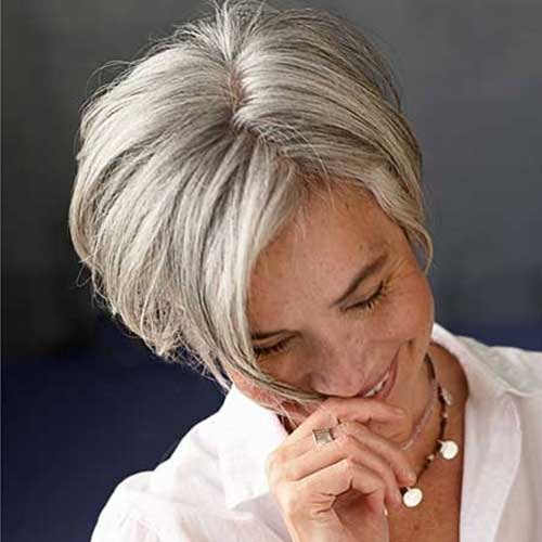 Very Short Chic Bob Hairstyle for Grey Hair