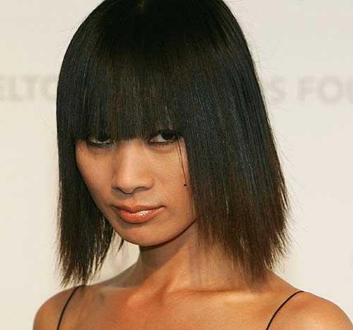 Short Chinese Straight Bob Hair with Bangs