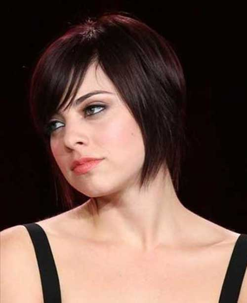 Short Dark Bob Hair Style Cut with Fringe