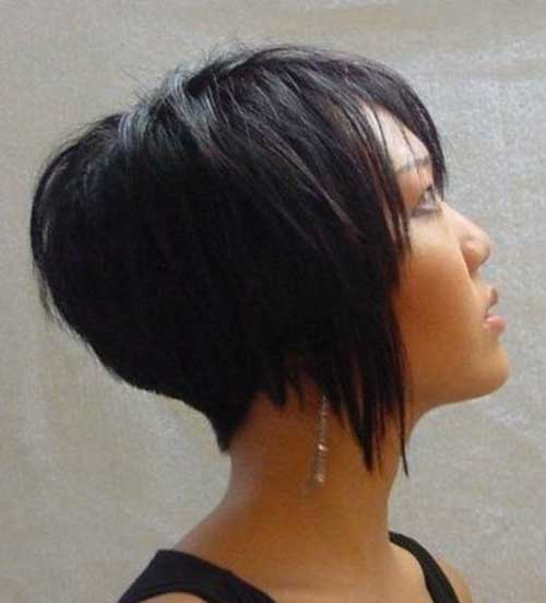 Short Inverted Dark Bob Haircut