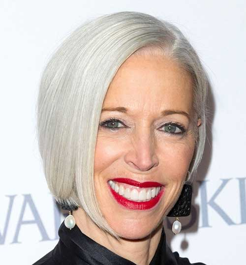 Straight Bob Hairstyles for White Grey Hair Ideas