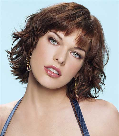 Wavy Layered Bob Bangs Hairstyles 2014