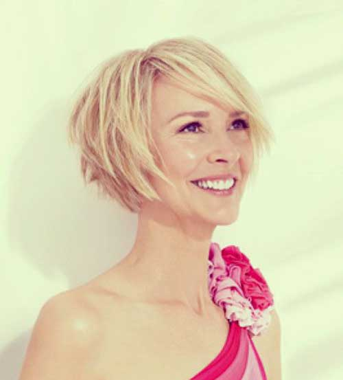Blonde Cool Fine Bob Haircut