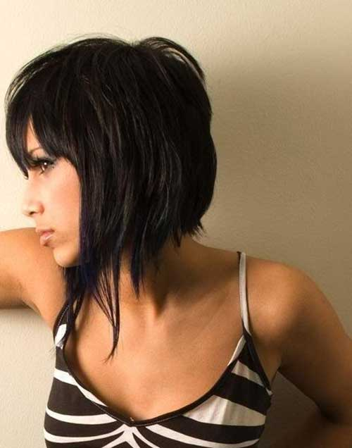Layered Choppy Bob with Bangs Cuts