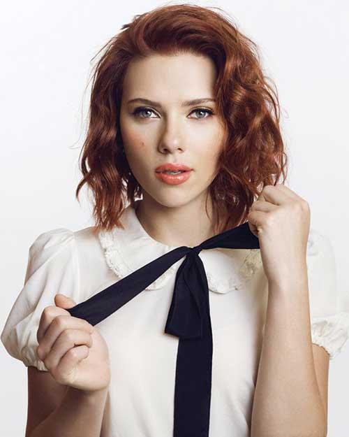 Scarlett Johansson Red Hair Bob