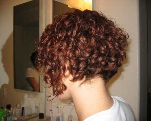 Back View of Curly Inverted Bob