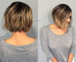 Back View of Layered Ombre Bob Hairstyles 2015