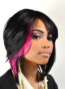 Black Women Dark Bob with Pink Lights Ideas