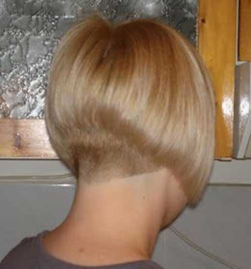 Blonde Hair Shaved Nape Bob Cuts