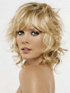 Blonde Shaggy Curly Bob Hair with Bangs