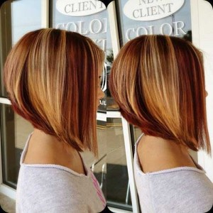 Blonde and Brown Short Graduated Bob Cuts