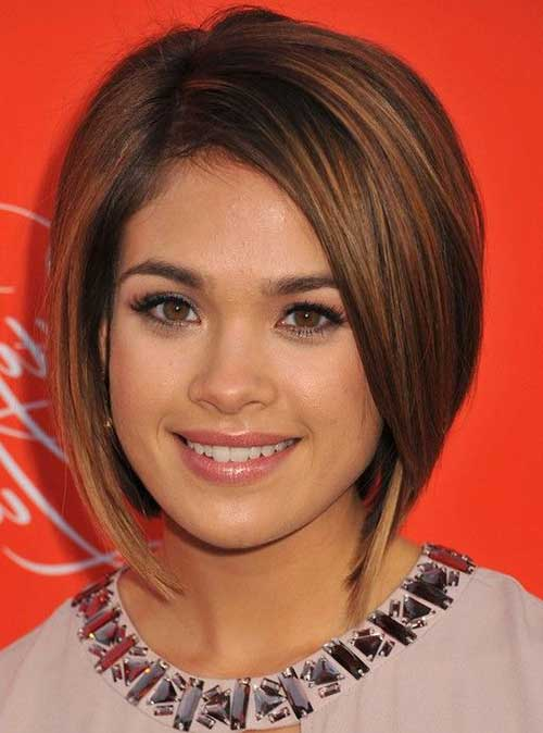 Browm Colored Short Graduated Bob Haircuts