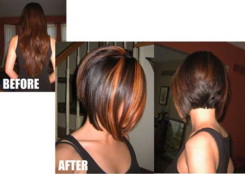 Graduated Bob with Brown Chunky Highlights Hair