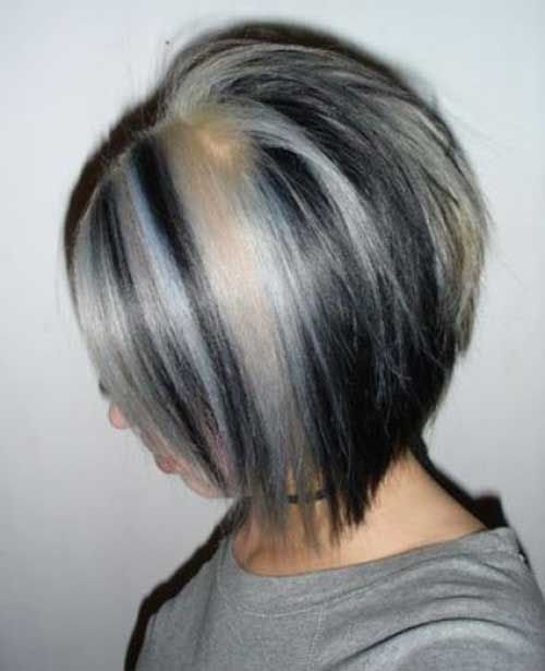 Graduated Bob with Grey Highlights Ideas