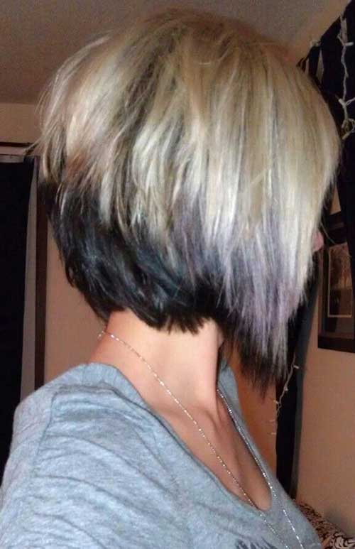 Two Colored Inverted Bob Thick Hair