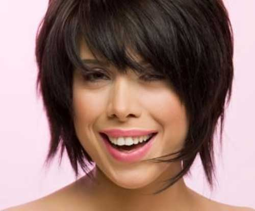 Best Layered Bangs Bob for Round Face