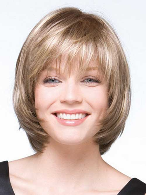 Best Layered Bob with Bangs for Round Face