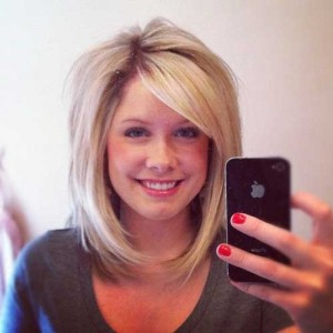 Long Blonde Bob with Side Swept Bangs