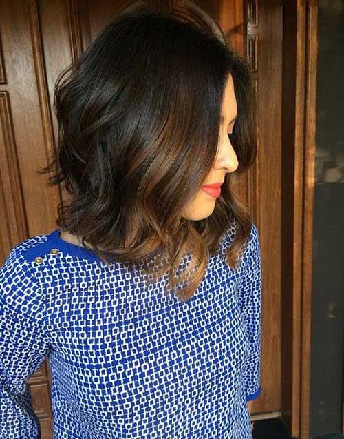 Long Bob Dark Hair with Balyage Colored