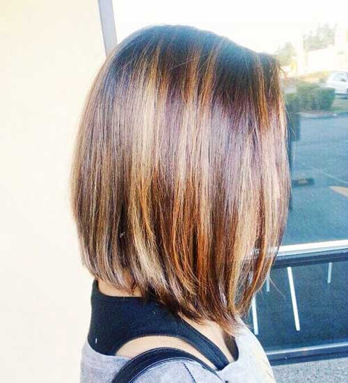 Long Inverted Bob with Highlights Hair