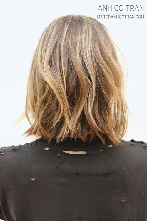 Mid Length Wavy Bob Back View