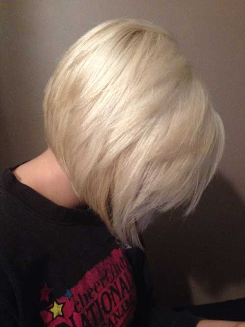 Platinum Blonde Layered Stacked Bob Cut