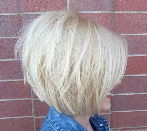 Blonde Short Graduated Bob Haircut Pictures