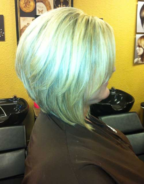 Blonde Short Layered Stacked Bob