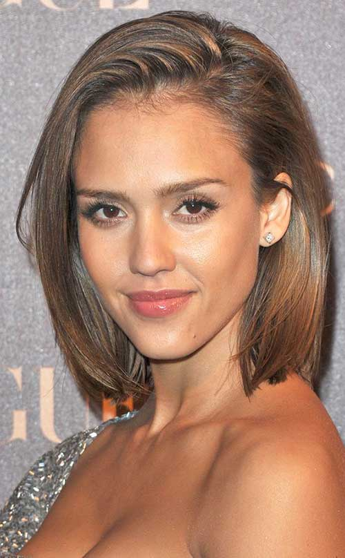 Side Swept Long Bob Hairstyles 2015