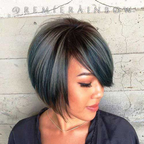 Short Bob Hairstyles with Side Swept Bangs-10