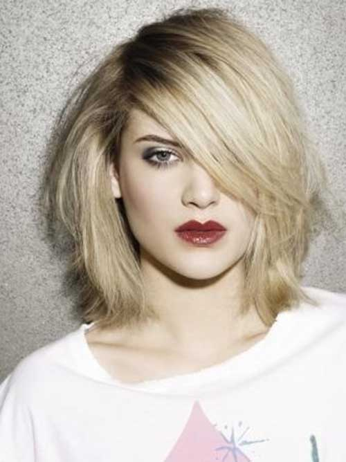 Short Bob Hairstyles with Side Swept Bangs-6
