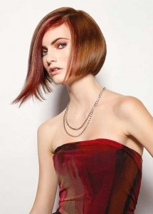 Angular Red Bob Haircut