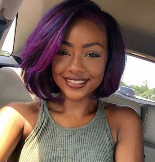 Purple Bob Hairstyles on Black Women