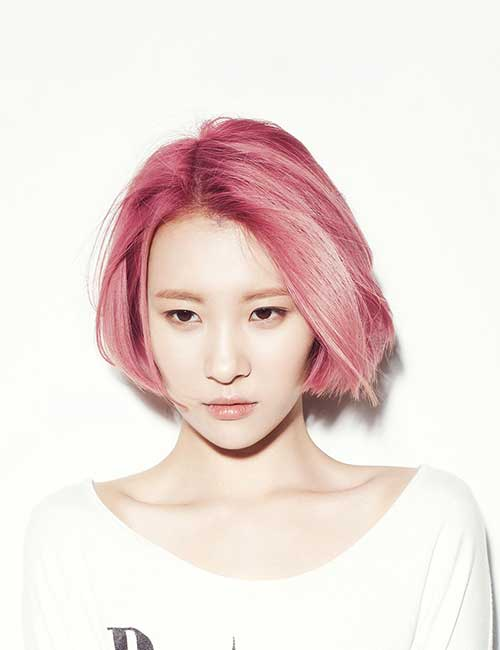 Pink Bob Korean Hairstyles
