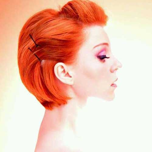 Stylish Bright Red Pinned Bob