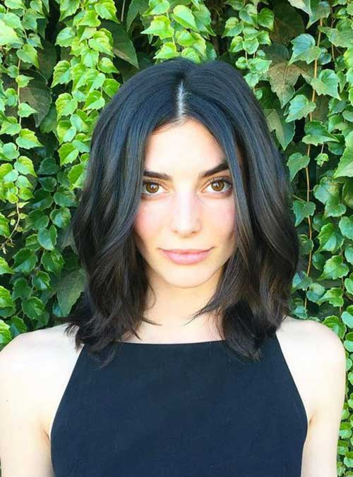 Dark Bob Haircuts with Wavy Ends