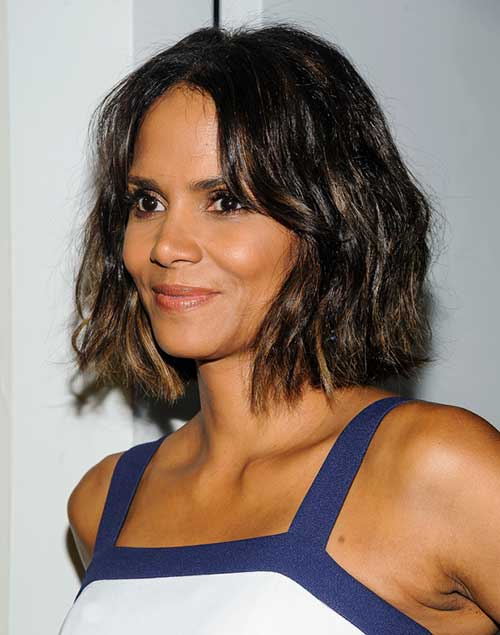 Halle Berry Wavy Dark Bob Hairstyles