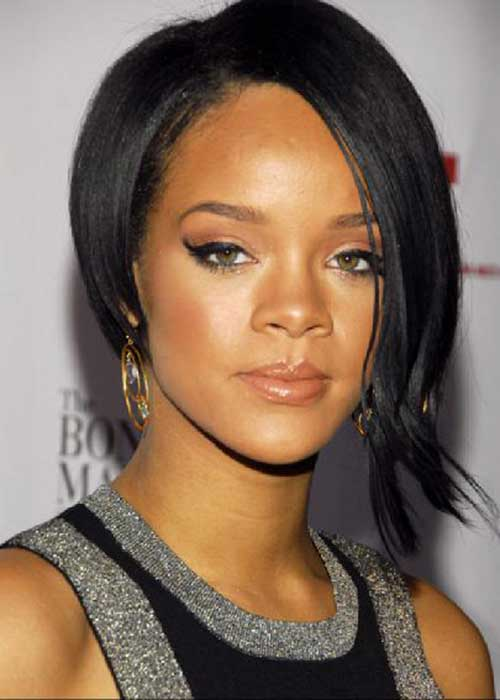 Rihanna Asymmetrical Bob Haircut