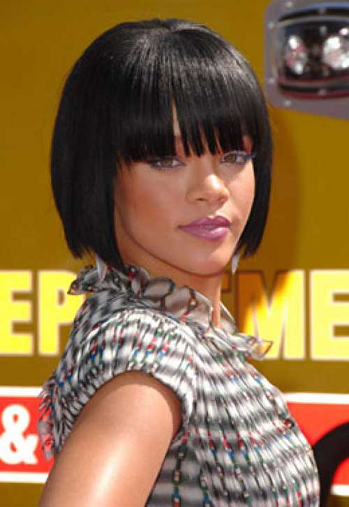 Rihanna Blunt Bob Cut with Bangs