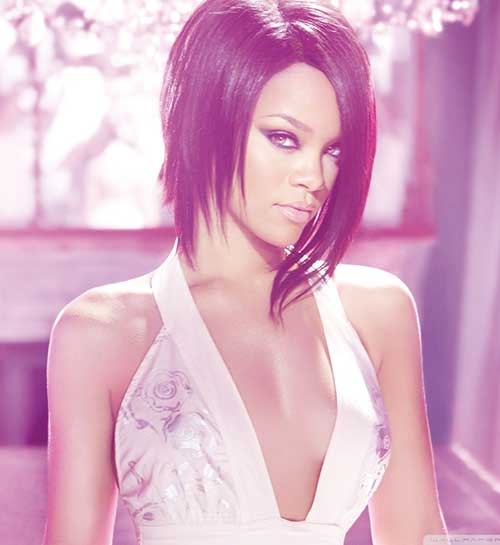 Rihanna Layered Long Bob Cut