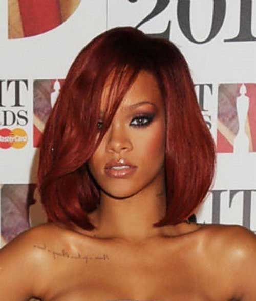 Rihanna Long Red Bob Cut Ideas