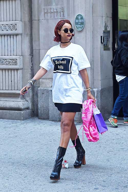 Rihanna Street Style Bob Hair